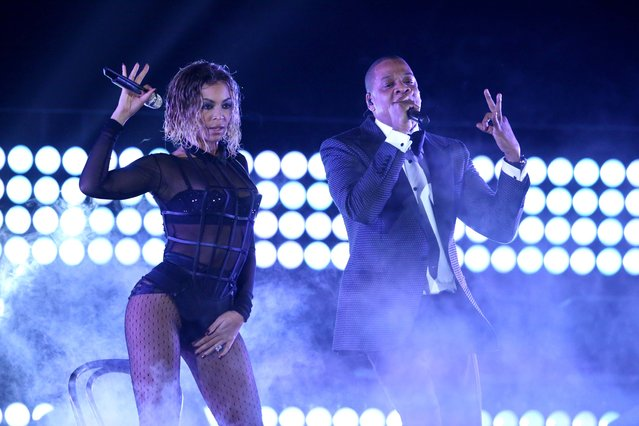 "Beyonce, left, and Jay-Z perform ""Drunk in Love"" at the 56th annual Grammy Awards at Staples Center on Sunday, January 26, 2014, in Los Angeles. (Photo by Matt Sayles/Invision/AP)"