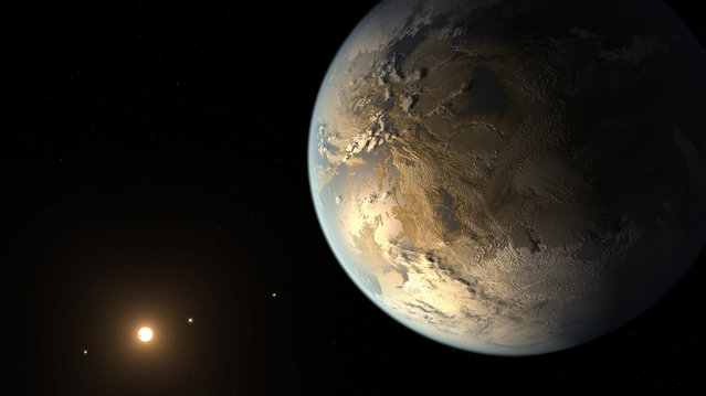 This artist's rendering provided by NASA on Thursday, April 17, 2014 shows an Earth-sized planet dubbed Kepler-186f orbiting a star 500 light-years from Earth. Astronomers say the planet may hold water on its surface and is the best candidate yet of a habitable planet in the ongoing search for an Earth twin. (Photo by T. Pyle/AP Photo/NASA Ames/SETI Institute/JPL-Caltech)