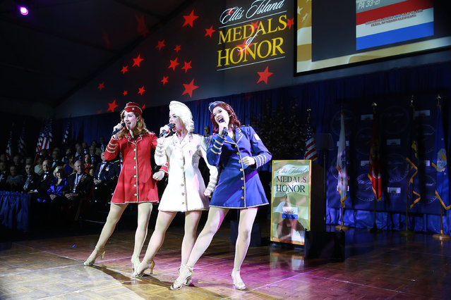 The Victory Belles, from the National WWII Museum, perform at the 2016 Ellis Island Medals of Honor awards ceremony on Saturday, May 7, 2016 on Ellis Island, NY. NECO honored ninety outstanding Americans including Joint Chiefs of Staff General Martin Dempsey, former U.S Army General Ann E. Dunwoody, recording artist Tony Orlando, TV host Padma Lakshmi and former NFL player Mike Utley. (Photo by Amy Sussman/Invision for NECO/AP Images)