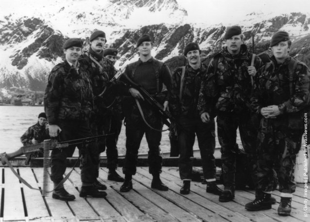 1982: M Company of the British Royal Marines, who re-took South Georgia from the Argentinian forces on April 25th during the Falklands War