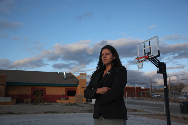 Candida Hunter, Hualapai Tribe councilwoman, poses for a photograph near new buildings on the Hualapai Indian Reservation in Peach Springs, Arizona February 28, 2012. The tiny Hualapai nation, in a bold move that could serve as a test of the limits of the sovereign power of Native American tribes over non-members, exercised its right of eminent domain to take over the management of the site and kick out the non-Indian developer. (Photo by Robert Galbraith/Reuters)