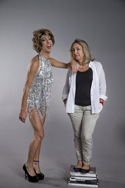 Drag queen Yakov Shapiro (L), who goes by the stage name Emily Rose, and his mother Olga Zhukov pose for a photo in a studio in Tel Aviv June 8, 2015. (Photo by Baz Ratner/Reuters)