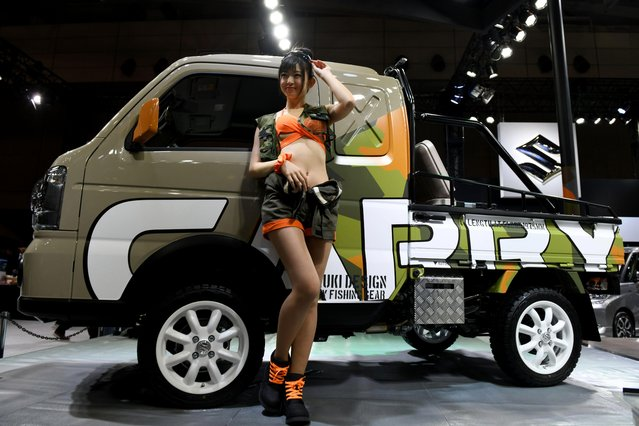 The Suzuki Carry Fishing Gear is displayed at the Suzuki booth of the Tokyo Auto Salon at the Makuhari Messe in Chiba on January 12, 2018. (Photo by Toshifumi Kitamura/AFP Photo)