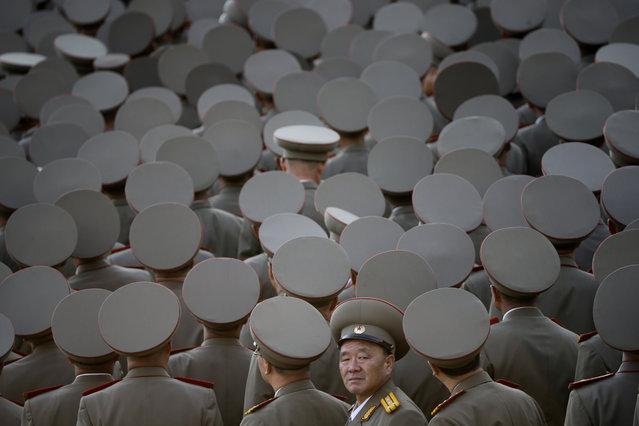 North Korean veterans gather before the start of a parade in Pyongyang, North Korea, Saturday, October 10, 2015. (Photo by Wong Maye-E/AP Photo)