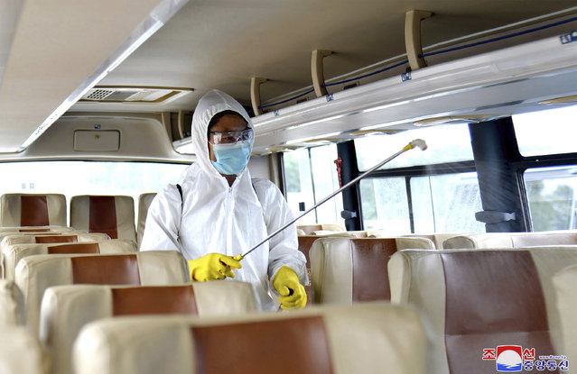 """In this undated photo provided on Friday, September 4, 2020, by the North Korean government, a worker disinfects the inside of a bus to protect against the coronavirus in Pyongyang, North Korea. Independent journalists were not given access to cover the event depicted in this image distributed by the North Korean government. The content of this image is as provided and cannot be independently verified. Korean language watermark on image as provided by source reads: """"KCNA"""" which is the abbreviation for Korean Central News Agency. (Photo by Korean Central News Agency/Korea News Service via AP Photo)"""