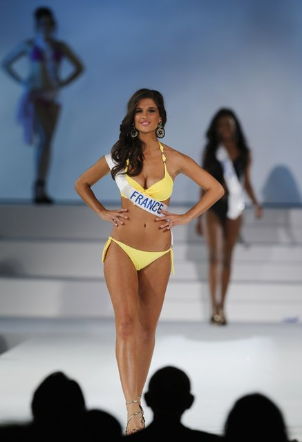 """Aurianne Sinacola representing France poses in a swimsuit during the 54th Miss International beauty pageant in Tokyo November 11, 2014. Sinacola won in the """"Perfect Body"""" category. (Photo by Thomas Peter/Reuters)"""
