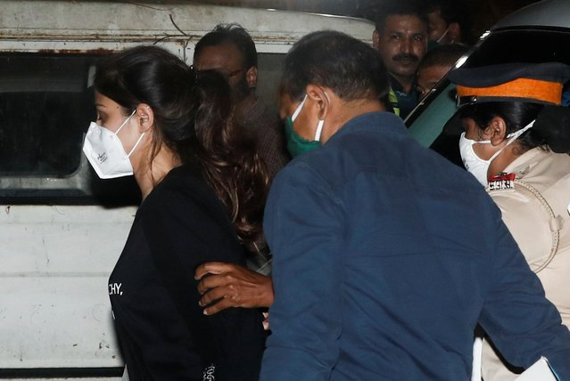 Bollywood actress Rhea Chakraborty is arrested by the Narcotics Control Bureau (NCB) in connection with drugs-related allegations on the late actor Sushant Singh Rajput's death case, in Mumbai on September 8, 2020. (Photo by Francis Mascarenhas/Reuters)