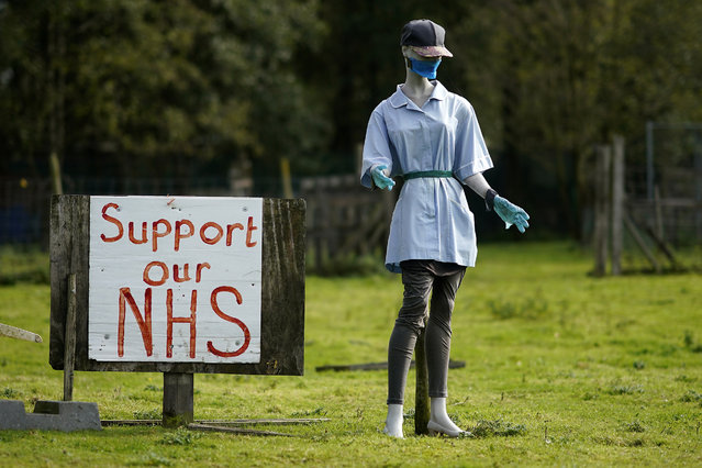 A mannequin wearing a face mask and nurse's uniform stands next to a sign supporting the NHS, stands in a field during the Covid-19 pandemic on October 06, 2020 in Northwich, United Kingdom. (Photo by Christopher Furlong/Getty Images)