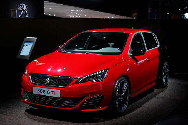 The Peugeot 308 GTi car is displayed on media day at the Paris auto show, in Paris, France, September 29, 2016. (Photo by Benoit Tessier/Reuters)