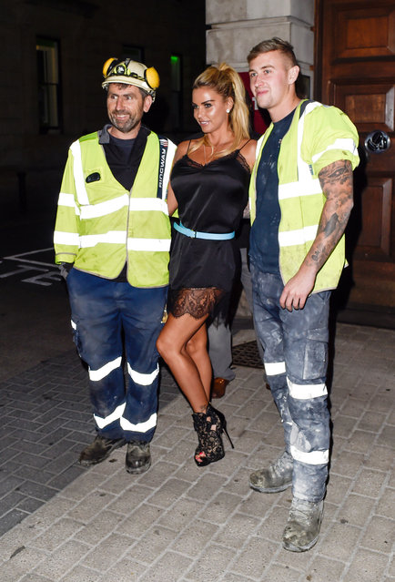 Katie Price aka Jordan Looks in good spirits as she arrives at Bushwackers nightclub in Worcester, UK on September 20, 2016 for a personal appearance. Ex on the beach and celebrity Big Brother winner, Stephen Bear, was also at the nightclub. (Photo by James Watkins/XposurePhotos.com)