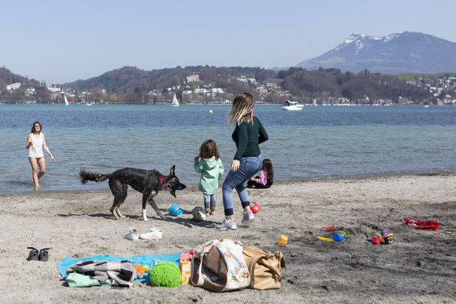 Sunbathers and a dog are happy about the spring-like temperatures in the Ufschoetti in Lucerne, Switzerland on Saturday, April 7, 2018. (Photo by Patrick Huerlimann/KEYSTONE)