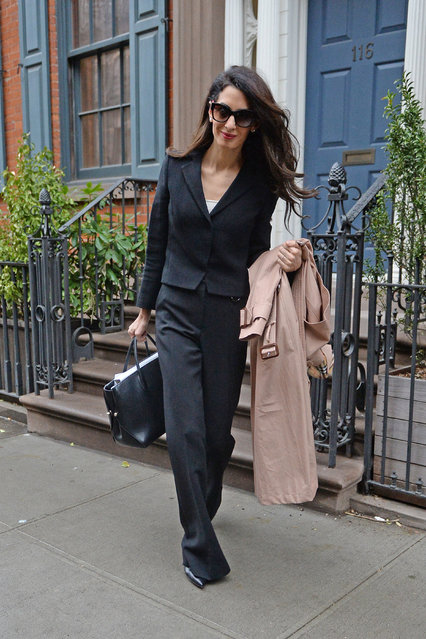 Amal Clooney is photographed leaving her apartment this morning on her way to Columbia University in New York city on April 10, 2018. (Photo by Elder Ordonez/Splash News and Pictures)