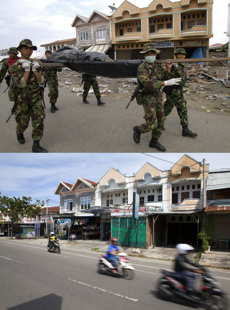TOP IMAGE: Indonesian Army carry a body during clean up efforts after the Tsunami in Banda Aceh, 150 miles from southern Asia's massive earthquake's epicenter on Tuesday January 4, 2005 in Banda Aceh, Indonesia.  BOTTOM IMAGE: Motorbikes ride down the road prior to the ten year anniversary of the 2004 earthquake and tsunami on December 14, 2014 in Banda Aceh, Indonesia. (Photo by Stephen Boitano/Barcroft Media)