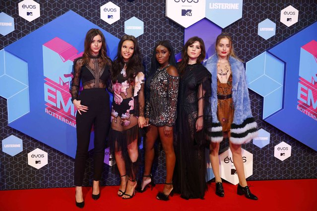 (L to R) MTV influencers Eleanor Calder, Monica Geuze, Sandra Lambeck, Betty Autier and Sonya Esmans attend the 2016 MTV Europe Music Awards at the Ahoy Arena in Rotterdam, Netherlands, November 6, 2016. (Photo by Michael Kooren/Reuters)