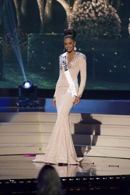 Sabrina Beneett, Miss Malaysia 2014 competes on stage in her evening gown during the Miss Universe Preliminary Show in Miami, Florida in this January 21, 2015 handout photo. (Photo by Reuters/Miss Universe Organization)