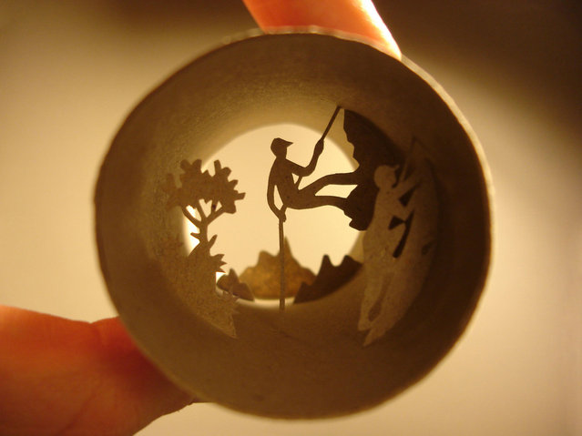 Toilet paper roll art of mountain climbers. (Photo by Anastassia Elias/Caters News)