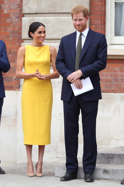 Prince Harry, Duke of Sussex and Meghan, Duchess of Sussex attend the Your Commonwealth Youth Challenge reception at Marlborough House on July 05, 2018 in London, England. (Photo by Yui Mok – WPA Pool/Getty Images)