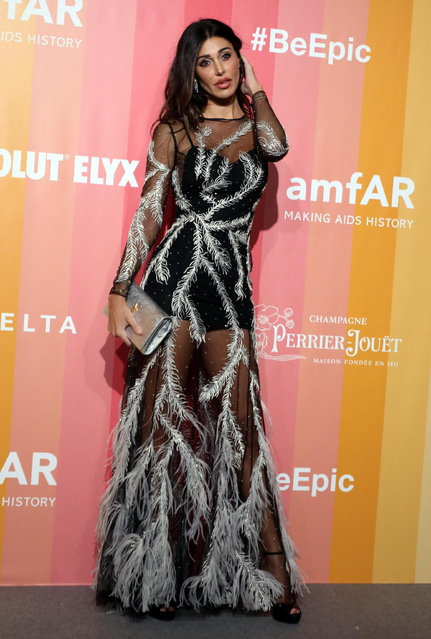Belen Rodriguez arrives at the amfAR charity dinner during the Milan Fashion Week, in Milan, Italy, 22 September 2018. (Photo by Matteo Bazzi/EPA/EFE)