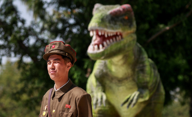 A soldier leaves after visiting a natural history museum in Pyongyang, North Korea, September 12, 2018. (Photo by Danish Siddiqui/Reuters)
