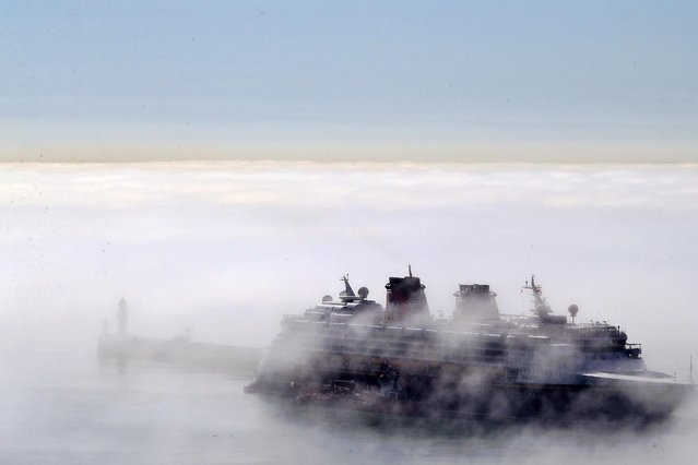 The Disney Magic cruise ship is shrouded in fog during a foggy morning at the Port of Dover in Kent, United Kingdom on Monday, June 7, 2021. (Photo by Gareth Fuller/PA Images via Getty Images)