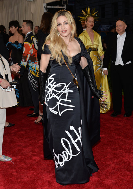 "Madonna arrives at The Metropolitan Museum of Art's Costume Institute benefit gala celebrating ""China: Through the Looking Glass"" on Monday, May 4, 2015, in New York. (Photo by Evan Agostini/Invision/AP Photo)"