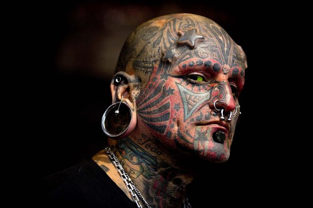 Victor Peralta poses for a picture during the 10th annual Buenos Aires Tattoo Show in Buenos Aires, Argentina, Friday, March 7, 2014. The Tattoo Show, which will run from March 7 – 9, is one of the largest events in Latin America dedicated to art. (Photo by Natacha Pisarenko/AP Photo)