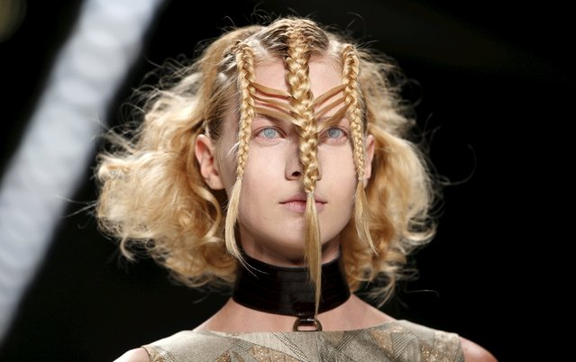 A model presents hair styling with creations by Irene Luft at Berlin Fashion Week Spring/Summer 2016 in Berlin, Germany, July 8, 2015. (Photo by Fabrizio Bensch/Reuters)