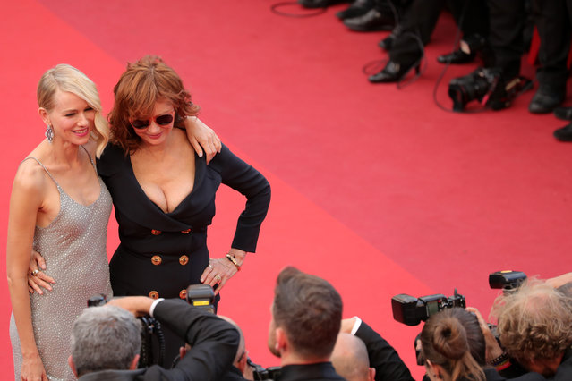 """Actresses Naomi Watts and Susan Sarandon attend the """"Money Monster"""" premiere during the 69th annual Cannes Film Festival at the Palais des Festivals on May 12, 2016 in Cannes, France. (Photo by Neilson Barnard/Getty Images)"""