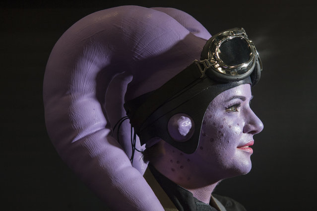 Kyle Blehm, of Sacramento, Calif. is dressed as Star Wars character Twi'lek during day two of the 2015 San Diego Comic-Con International, Friday, July 10, 2015, in San Diego. (Photo by Kevin Sullivan/The Orange County Register via AP Photo)