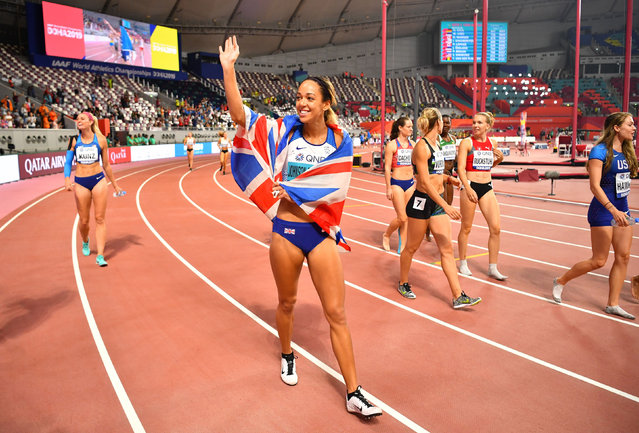 Great Britain's Katarina Johnson-Thompson celebrates after winning gold in the women's 800m heptathlon at the World Athletics Championships in Doha, Qatar on October 3, 2019. (Photo by Dylan Martinez/Reuters)