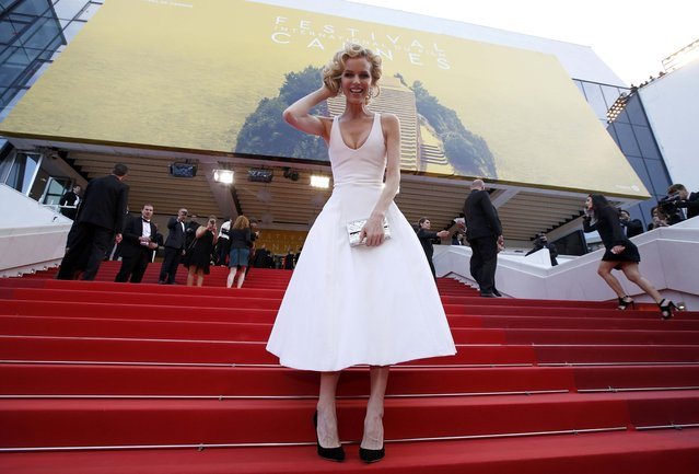 "Model Eva Herzigova poses on the red carpet as she arrives for the screening of the film ""La fille inconnue"" (The Unknown Girl) in competition at the 69th Cannes Film Festival in Cannes, France, May 18, 2016. (Photo by Eric Gaillard/Reuters)"