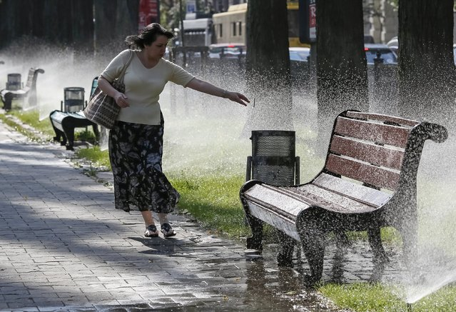 A woman tries to avoid being sprayed with water as she puts out a cigarette in a park during a hot summer morning in central Kiev, Ukraine, July 24, 2015. Temperatures in the Ukrainian capital Kiev rose up to 33 degrees Celsius (91.4 Fahrenheit) and temperatures are expected to rise to 36 degrees Celsius (96.8 Fahrenheit) in the coming days, according to local weather forecasts. (Photo by Gleb Garanich/Reuters)