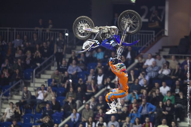 Javier Villegas races at the Night of the Jumps freestyle motocross acrobatics at O2 arena