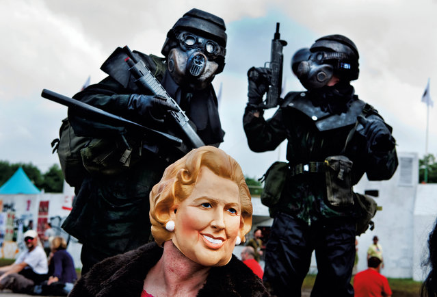 Margaret Thatcher visits Shangri-La, Glastonbury, 2009. (Photo by Barry Lewis/The Guardian)