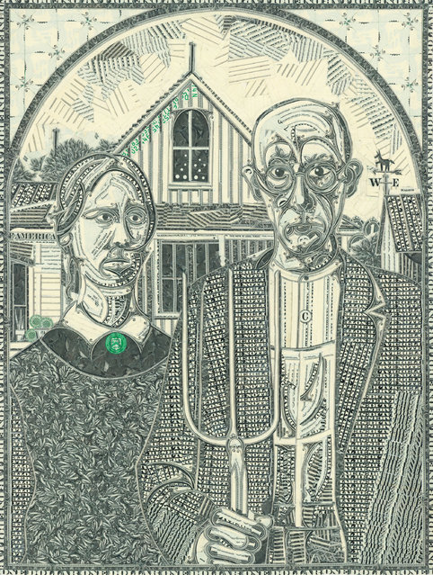American Gothic, cut one-dollar bills. (Photo by Mark Wagner)