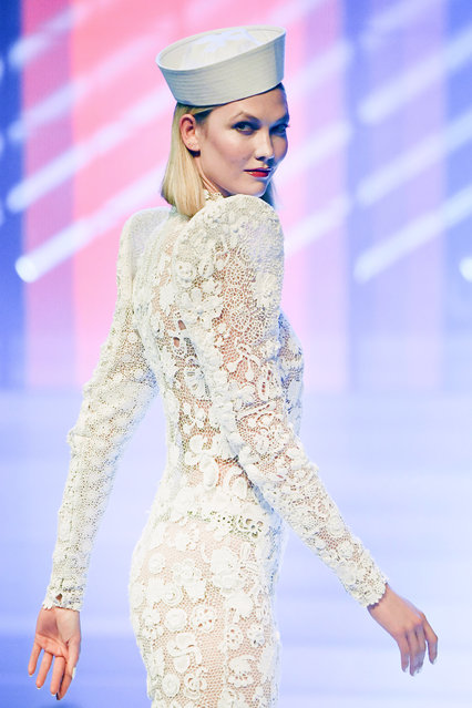 Karlie Kloss walks the runway during the Jean-Paul Gaultier Haute Couture Spring/Summer 2020 show as part of Paris Fashion Week at Theatre Du Chatelet on January 22, 2020 in Paris, France. (Photo by Stephane Cardinale – Corbis/Corbis via Getty Images)
