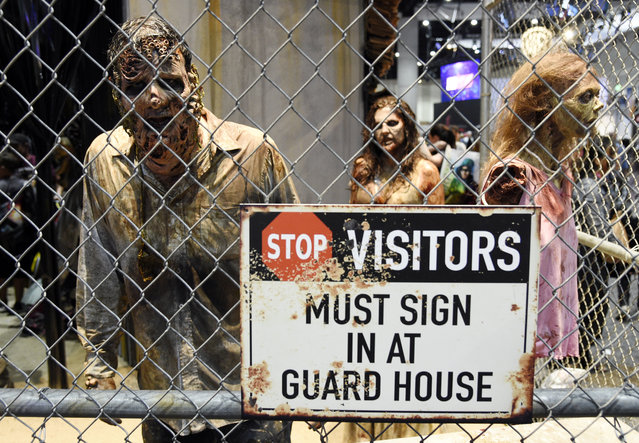 """Zombie characters walk inside a cage at the """"Walking Dead"""" exhibit on the convention show floor during Preview Night of the 2017 Comic-Con International on Wednesday, July 19, 2017, in San Diego, Calif. (Photo by Chris Pizzello/Invision/AP Photo)"""