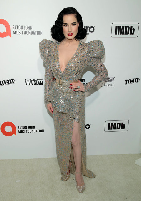 Dita Von Teese attends the 28th Annual Elton John AIDS Foundation Academy Awards Viewing Party sponsored by IMDb, Neuro Drinks and Walmart on February 09, 2020 in West Hollywood, California. (Photo by Jemal Countess/Getty Images)
