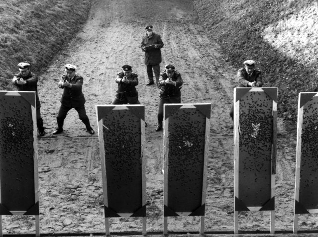Following the Munich massacre at the Olympic Games, a sharpshooting training scheme has been introduced for special policemen. Officers from the Bonn sharpshooting group practice on the shooting range. 13th December 1972. (Photo by Keystone)