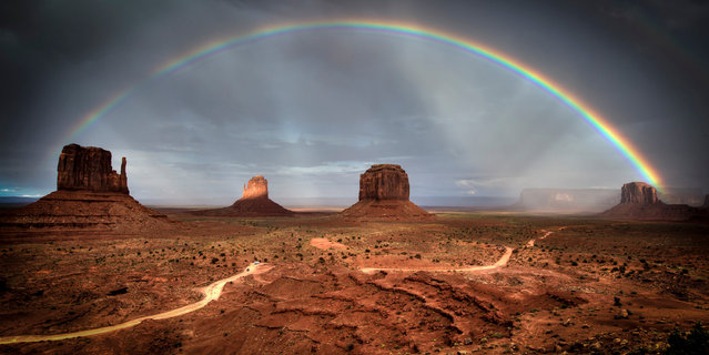 """""""Rainbow Over Monument Valley"""". A Top 10 entry in the amateur nature/landscape category, taken in Arizona. (Photo by Frederic Huber/Epson International Pano Awards 2017)"""