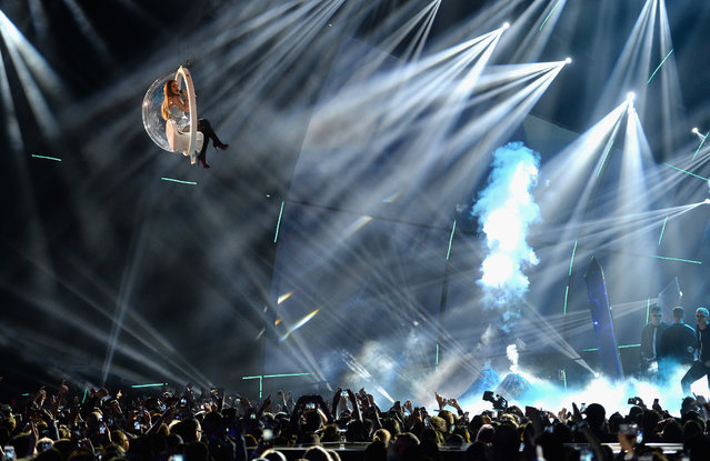Ariana Grande performs on stage during the MTV EMA's 2014 at The Hydro on November 9, 2014 in Glasgow, Scotland. (Photo by Samir Hussein/Getty Images for MTV)