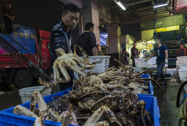 A man unloads King Crabs that arrived from Russia from truck on Huangsha Seafood Market in Guangzhou, Guandong Province, China, 20 January 2018. (Photo by Aleksandar Plavevski/EPA/EFE)