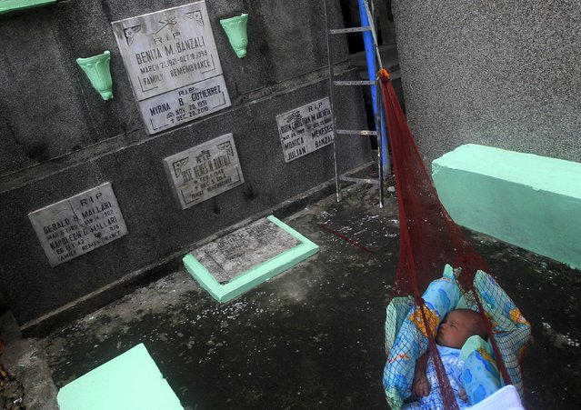 A baby sleeps on a hammock next to graves inside a public cemetery in Makati financial district of Manila October 31, 2015. (Photo by Janis Alano/Reuters)