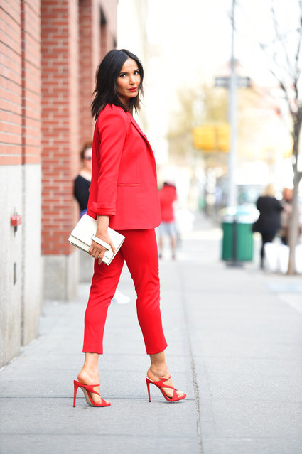 Padma Lakshmi is seen on April 13, 2018 in New York City. (Photo by Robert O'Neil/Splash News and Pictures)