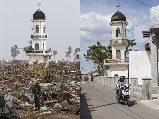 LEFT IMAGE: A member of the Indonesian Army stands guard near the minaret of Al-Tawhid mosque after the Tsunami in Banda Aceh, 150 miles from southern Asia's massive earthquake's epicenter on Tuesday January 4, 2005 in Banda Aceh, Indonesia. RIGHT IMAGE: Motorbikes ride past Al-Tawhid mosque prior to the ten year anniversary of the 2004 earthquake and tsunami on December 13, 2014 in Banda Aceh, Indonesia. (Photo by Stephen Boitano/Barcroft Media)
