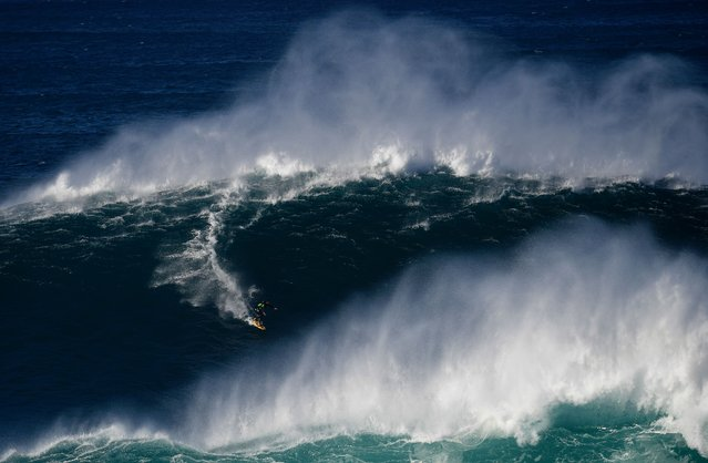 A surfer rides a wave off Praia do Norte (North Beach) near Nazare, central Portugal, on October 24, 2016. (Photo by Francisco Leong/AFP Photo)