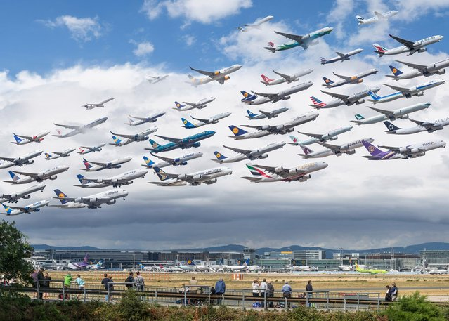 The pics show the astonishing volume of air traffic coming from the world's busiest airports. (Photo by Mike Kelley/SWINS)