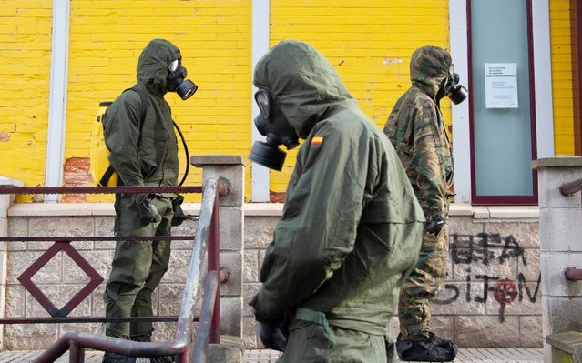 Spanish Armed Forces in Norena, Spain, on March 30, 2020. More than 2,500 Army soldiers are deployed throughout the country to fight the pandemic. These military units can be deployed on the streets in tasks of disinfection of public spaces, control and surveillance, to ensure compliance with the rules that limit freedom of movement. (Photo by Alvaro Fuente/NurPhoto via Getty Images)