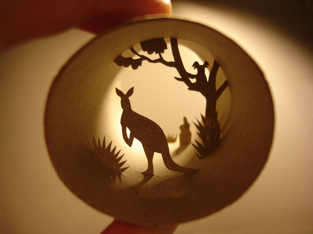 Toilet paper roll art of a kangaroo in the wild. (Photo by Anastassia Elias/Caters News)