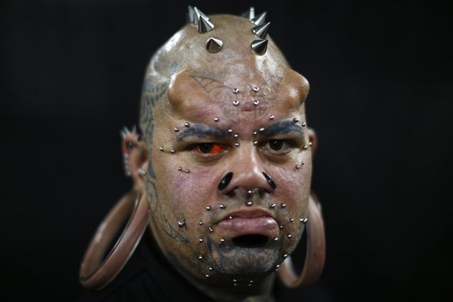 Kala Kaiwi, a tattoo and body modification artist from Hawaii, poses for a picture at Venezuela Expo Tattoo in Caracas January 29, 2015. (Photo by Jorge Silva/Reuters)
